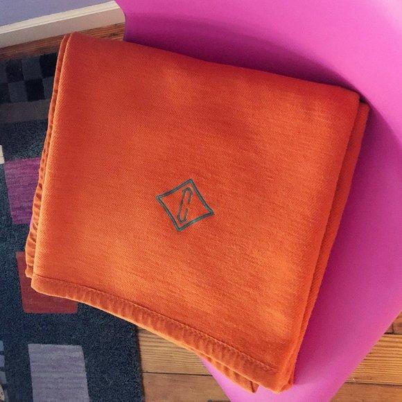 Garnet Hill Bedding Orange C Monogrammed Throw Blanket